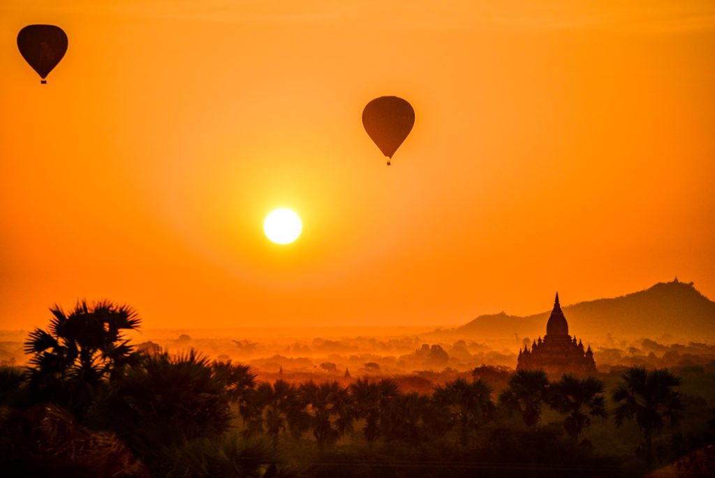 Myanmar bagan balloon sunrise